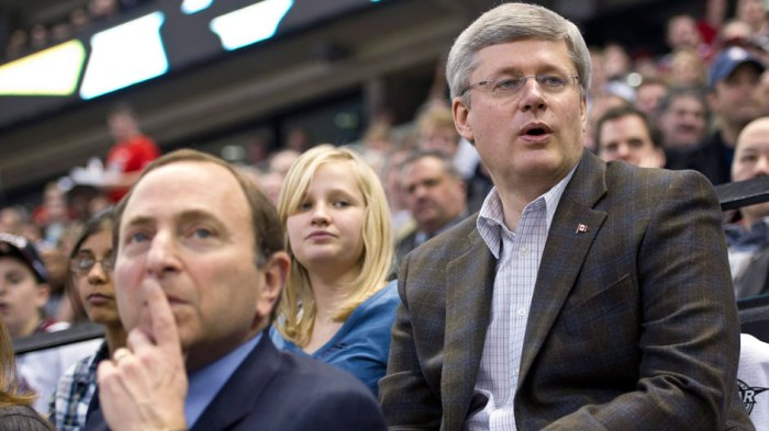 NHL Commissioner Gary Bettman and Prime Minister Stephen Harper (Source: CBC)