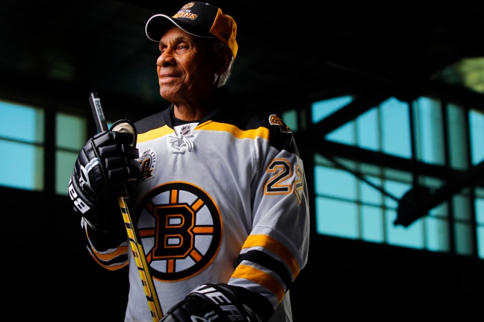 Willie O'Ree was the first black man to play in the NHL in 1958, shown here at the Joan Kroc Center.